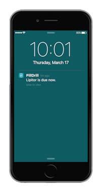 PillDrill smartphone app notification
